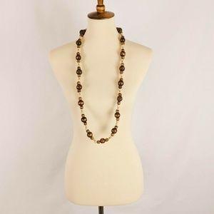 Vintage Avon Boho Wooden Beaded Long Necklace